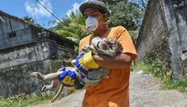 An NGO worker carrying a monkey after they sedated and prepared to evacuate it from a villager's hou