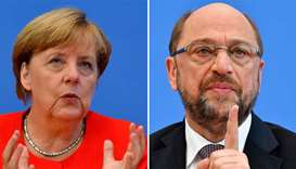 German Chancellor Angela Merkel and Martin Schulz, leader of Germany's social democratic SPD party