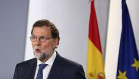 Spain's Prime Minister Mariano Rajoy makes a statement at the Moncloa Palace in Madrid