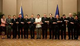 Philippines President Duterte links arms with ASEAN Economic Ministers