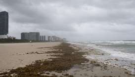 Winds and rain begin to hit the beach as outer bands of Hurricane Irma arrive in Miami Beach, Florid