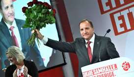 Prime minister and party leader of the Social democrat party Stefan Lofven addresses supporters at a