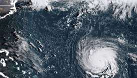 Satellite image shows Hurricane Florence off the US east coast in the Atantic Ocean