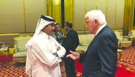 Sheikh Khalifa and US Chamber of Commerce president and CEO Tom J Donohue at a working dinner