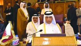 HE the Minister of State for Foreign Affairs Sultan bin Saad al-Muraikhi at the meeting of Arab Leag