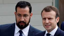 French President Emmanuel Macron and Elysee senior security officer Alexandre Benalla
