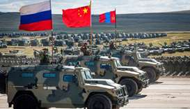 Russian, Chinese and Mongolian troops and military equipment parade at Vostok-2018 military drills