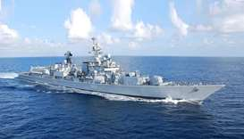 Indian naval ship arriving at Hamad Port on Tuesday