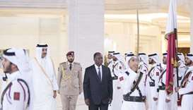 His Highness the Amir Sheikh Tamim bin Hamad al-Thani and Cote d'Ivoire President Alassane Ouattara