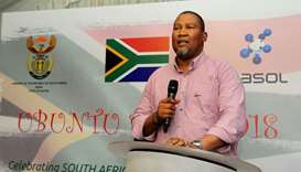 Mandla Mandela speaking at the South African Heritage Day in Doha