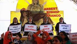 Indian Christian nuns and supporters protest as they demand the arrest of Bishop Franco Mulakkal out