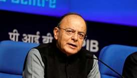 India's Finance Minister Arun Jaitley attends a news conference