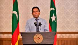 Maldivian President Abdulla Yameen speaks as he gives a statement at President office in Male