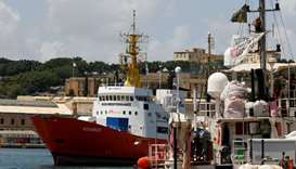 The humanitarian ship Aquarius is seen at Boiler Wharf in Senglea, in Valletta's Grand Harbour, Malt