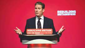 Labour party Brexit secretary Keir Starmer addresses delegates on the third day of the party confere