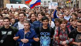 Protesters attend a rally against planned increases to the nationwide pension age in St. Petersburg,