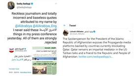 Top Afghan official trashes reports carried by Saudi media