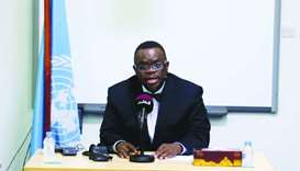 UN Independent Expert on Human Rights and International Solidarity Obiora C Okafor at the press conf