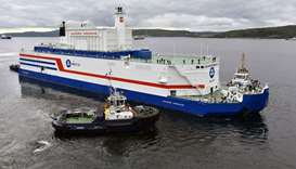Russian nuclear agency ROSATOM shows the floating power unit (FPU) Akademik Lomonosov being towed fr
