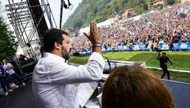 Italian senator, head of the Italian far-right League (Lega) party Matteo Salvini delivers a speech