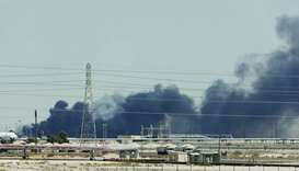 Smoke is seen following a fire at Aramco facility in the eastern city of Abqaiq, Saudi Arabia