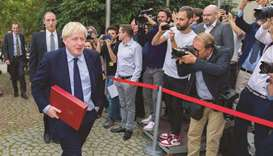 Prime Minister Boris Johnson leaves after a meeting with EU Commission president and officials at th