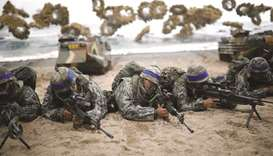 South Korean marines take part in a US-South Korea joint landing operation drill as part of the two