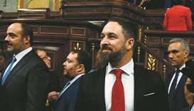 Spanish far-right party Vox leader Santiago Abascal arrives for a parliament plenary session yesterd