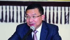 Chinese ambassador Zhou Jian speaking in Doha on Thursday
