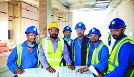 Onsite workers at Lusail Stadium.