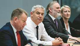Brexit Minister Stephen Barclay (second left) is pictured prior to a meeting with EU chief Brexit ne