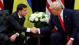 Ukraine's President Volodymyr Zelenskiy greets Trump during a bilateral meeting on the sidelines of