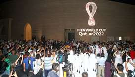 The tournament's official logo for the 2022 Qatar World Cup is seen at Katara in Doha