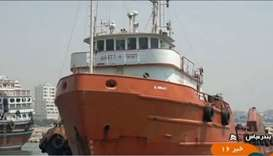 The boat of a fuel-smuggling ring in the Strait of Hormuz that Iran seized and arrested the Filippin