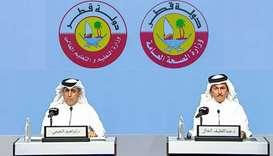 Dr Abdullatif al-Khal and Dr Ibrahim bin Saleh al-Nuaimi at the press conference