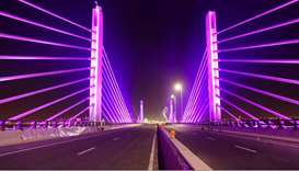 The lit-up cable-stayed bridge. Supplied picture