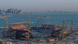 A view of the under-construction Ras Abu Aboud Stadium, one of the venues of the 2022 World Cup.
