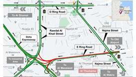 Closure for vehicles coming from Najma Street and E Ring Road towards Mesaimeer Interchange