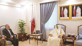 Speaker of Shura Council meets Iranian ambassador
