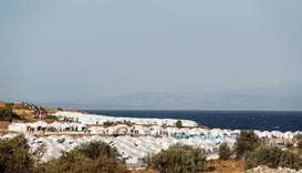 A general view of a new temporary camp for migrants and refugees is pictured on the island of Lesbos