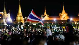Pro-democracy protesters attend a mass rally to call for the ouster of Prime Minister Prayuth Chan-o