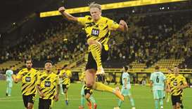 Borussia Dortmund's Erling Haaland celebrates scoring their second goal during the Bundesliga match