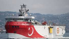 Turkish seismic research vessel Oruc Reis sails in the Bosphorus in Istanbul, Turkey.