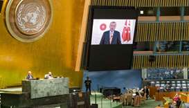 President of of Turkey, Recep Tayyip Erdogan(on screen), as he addresses the general debate of the s