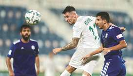 In this September 13, 2020, picture, Al Ahli's Hernan Perez (centre) in action during the QNB Stars