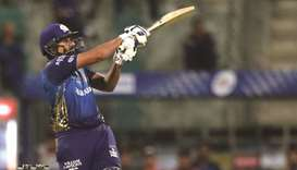 Rohit Sharma, captain of Mumbai Indians, plays against the Kolkata Knight Riders in Sharjah yesterda