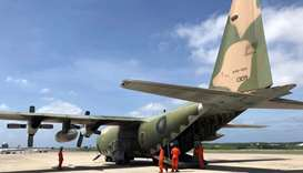 A C-130 transport aircraft is seen at Makung Air Force Base in Taiwan's offshore island of Penghu on