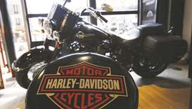 The logo of Harley-Davidson is seen on one of their models at a shop in Paris. The US motorcycle com