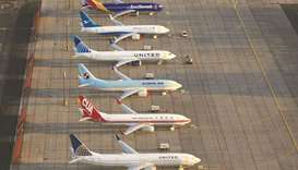 Boeing 737 MAX airplanes are parked at Grant County International Airport in Moses Lake, Washington.