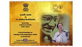 The Indian embassy will live stream on Sunday at 9am an event titled 'Gandhi Katha' (Story on Mahatm
